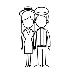 Couple romantic lovely holding hands line vector