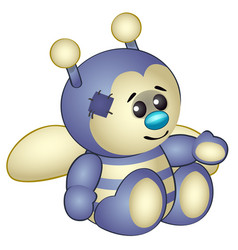 cute bee - old children stuffed toy with patch vector image