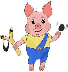 Cute bully dirty pig in cartoon style funny vector