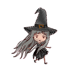 cute witch flying in colored crayon silhouette vector image