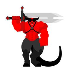 Demon warrior with sword strong devil berserk red vector