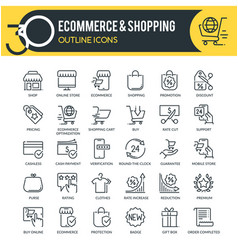 Ecommerce outline icons vector