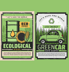 Electric car and eco fuel green energy ecology vector