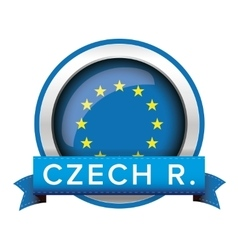 Eu flag button with czech ribbon vector
