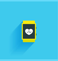 Fitness tracker flat icon isolated on a blue vector