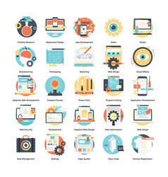 Flat icons set software design and development vector
