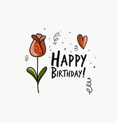floral birthday card for your design vector image