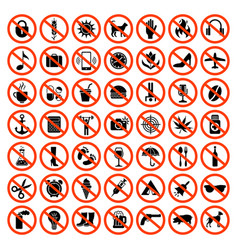 forbidden icons prohibiting red symbols vector image