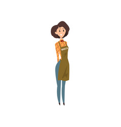 Friendly female barista with apron coffee shop vector