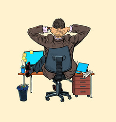 Giant businessman at office desk vector