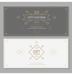 gift voucher template with hipster design line vector image