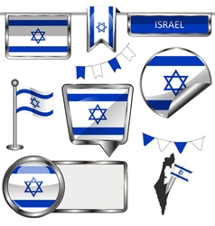 Glossy icons with Israeli flag vector