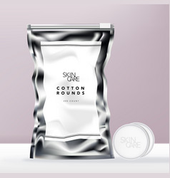 glossy silver beauty or food foil bag vector image