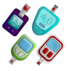 Glucose meter icon set cartoon style vector