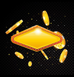 golden casino vegas sign with poker chips vector image