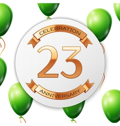 Golden number twenty three years anniversary vector image