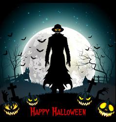 Halloween death with grim reaper wolf and pumpkin vector