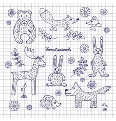 Hand-draw woodland animals vector image