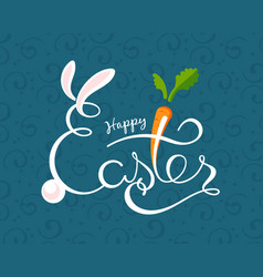 hand sketched happy easter text drawn vector image