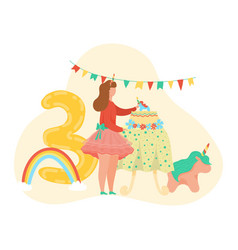 happy birthday girl number three letter ballon vector image