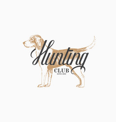 hunting dog label vector image