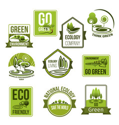 Icons set for nature ecology environment vector