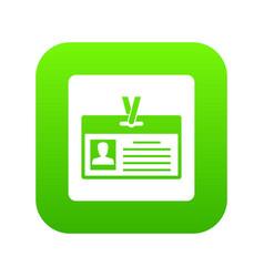 identification card icon digital green vector image