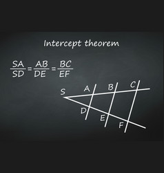 intercept theorem on chalkboard template for your vector image