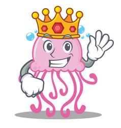 King cute jellyfish character cartoon vector