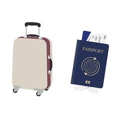 Luggage and passport vector image
