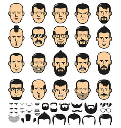 Male faces with haircuts vector