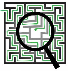 maze puzzle magnifying glass vector image