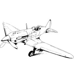 Military fighter jet drawn in ink by hand vector