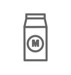monochrome a pack of milk icon on white background vector image