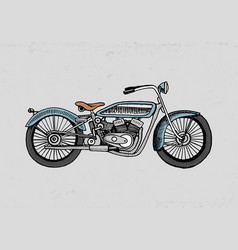 Motorcycle or motorbike engraved vector