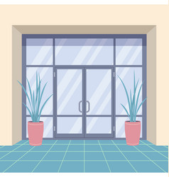 office interior with door and pot plants vector image