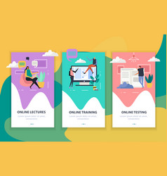 Online education flat vertical banners vector