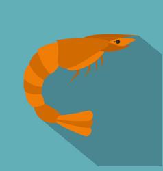 orange shrimp icon flat style vector image