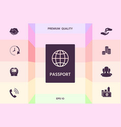 passport icon symbol graphic elements for your vector image