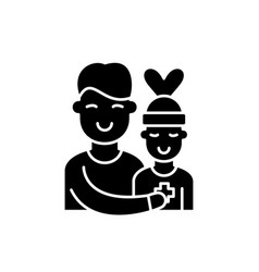 patient care black icon sign on isolated vector image