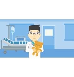 Pediatrician doctor holding teddy bear vector image