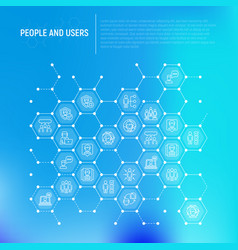 people and users concept in honeycombs vector image