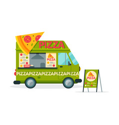 Pizza food truck street meal vehicle fast food vector