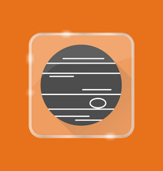 Planet jupiter silhouette icon in flat style on vector