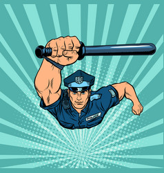Police officer with a baton vector