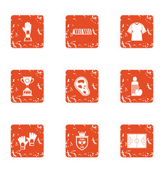 Practice session icons set grunge style vector