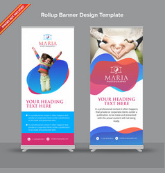 Premium red and blue rollup banner with moderns vector