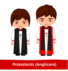 Protestants anglicans pastors man and woman vector