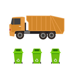 rubbish truck and cans vector image