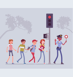 safe road crossing vector image